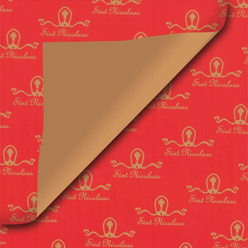 Rood Sinterklaas geschenkpapier