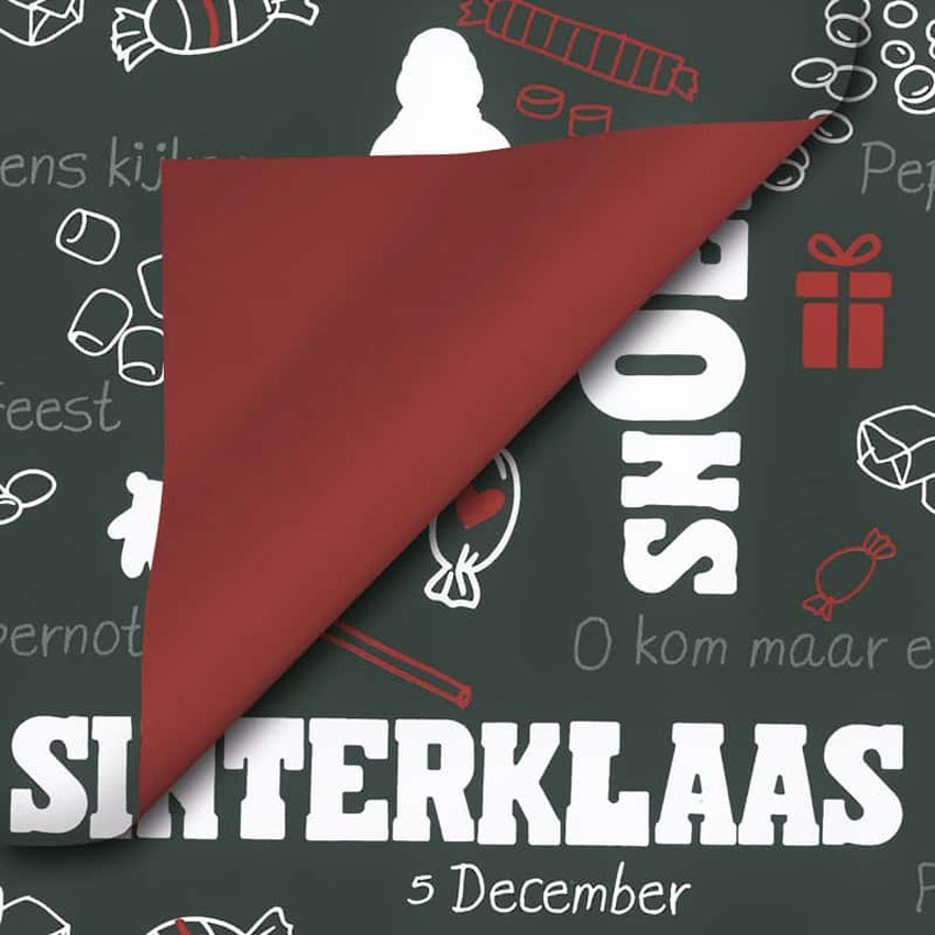 Sinterklaas geschenkpapier - bordeauxrood en zwart