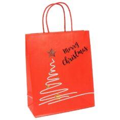 Papieren kersttas - Merry Christmas - Foliedruk Goud